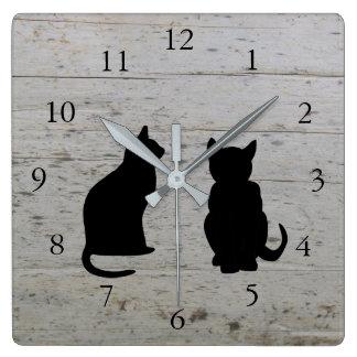 Relógio Quadrado Silhuetas modernas do gato, animais de estimação