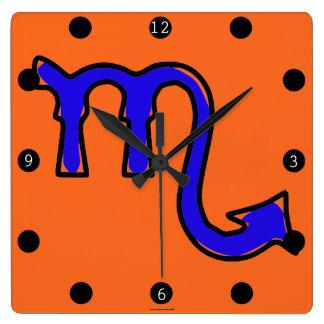 Relógio Quadrado Símbolo da Escorpião