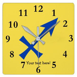 Relógio Quadrado Símbolo do Sagitário
