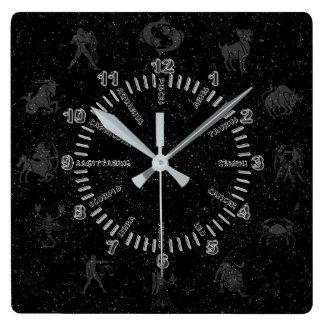 Relógio Quadrado Sinais transparentes do zodíaco
