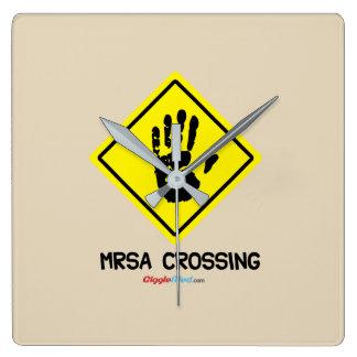 Relógio Quadrado Sinal do cruzamento de MRSA
