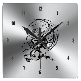 Relógio Quadrado Sinal metálico brilhante de aço inoxidável & do