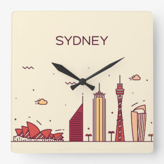 Relógio Quadrado Skyline do Doodle de Sydney, Austrália |