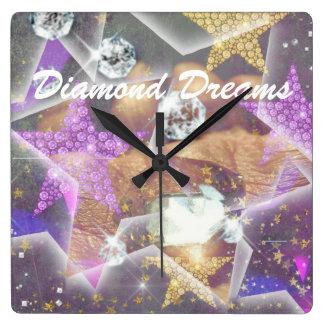 Relógio Quadrado Sonhos do diamante