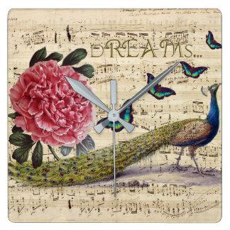 Relógio Quadrado Sonhos do pavão