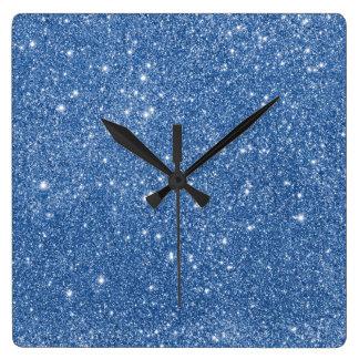Relógio Quadrado Sparkles azuis do brilho