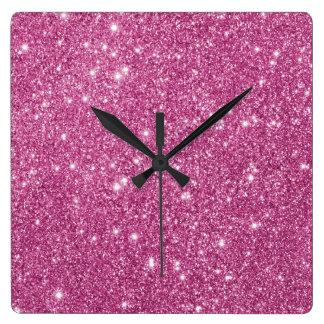 Relógio Quadrado Sparkles do brilho do rosa quente