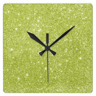 Relógio Quadrado Sparkles do brilho do verde limão