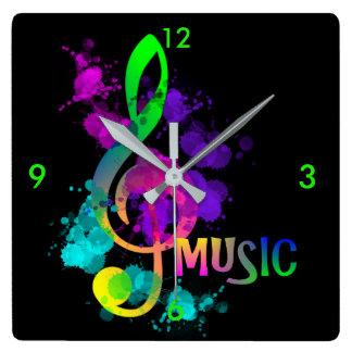 Relógio Quadrado Splatter brilhante da pintura da música do Clef de