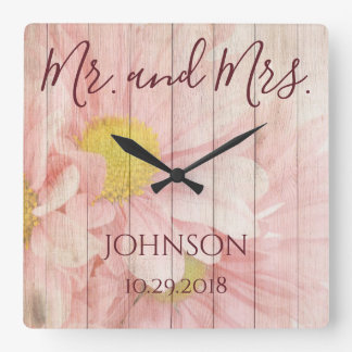 Relógio Quadrado Sr. e Sra. Personalized Floral