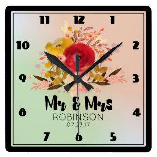 Relógio Quadrado Sr. floral bonito & Sra. do casamento do buquê da