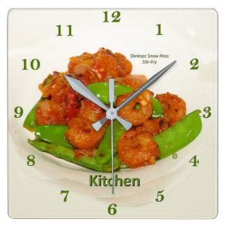 Relógio Quadrado Stir-Fritada da ostra das ervilhas frescas dos