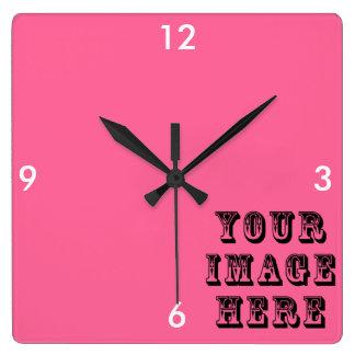 Relógio Quadrado Sua imagem aqui