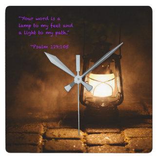 Relógio Quadrado Sua palavra é uma lâmpada