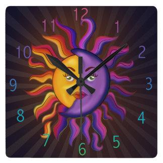 Relógio Quadrado Sun e design da lua