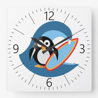 Relógio Quadrado Surfista do pinguim