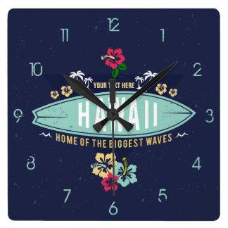 Relógio Quadrado Surfista retro de Havaí do vintage do Grunge Aloha