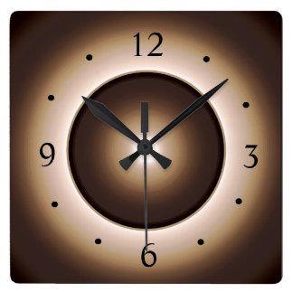 Relógio Quadrado Tan/Brown iluminou o impressão Design>Square W do