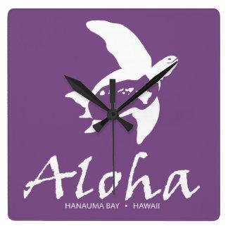 Relógio Quadrado Tartaruga da ilha de Havaí