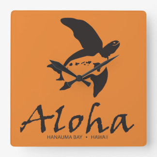 Relógio Quadrado Tartaruga de Havaí
