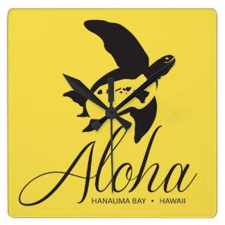 Relógio Quadrado Tartaruga de Havaí Aloha
