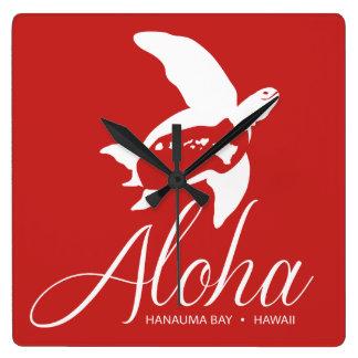 Relógio Quadrado Tartaruga de Havaí da baía de Hanauma