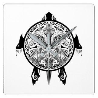 Relógio Quadrado Tatuagem tribal do protetor da tartaruga
