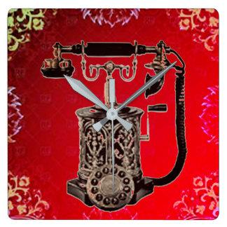 Relógio Quadrado Telefone da parede do vintage