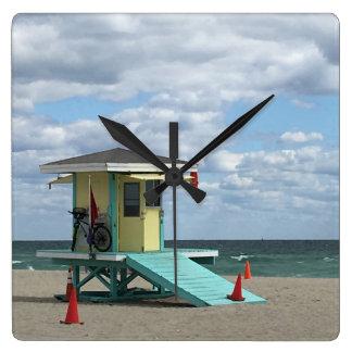 Relógio Quadrado Tempo da praia