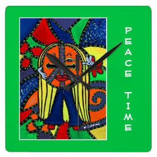 Relógio Quadrado Tempo de paz em verde-claro - partes do tempo