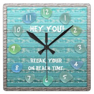 Relógio Quadrado Tempo de vidro da praia do oceano do olhar da