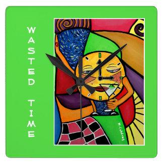Relógio Quadrado Tempo desperdiçado em verde-claro