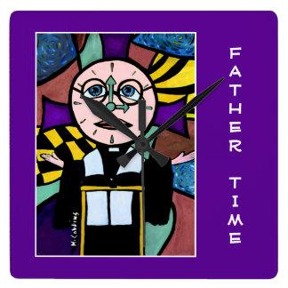 Relógio Quadrado Tempo do pai no roxo - partes do tempo