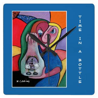 Relógio Quadrado Tempo em uma garrafa no azul - partes do tempo