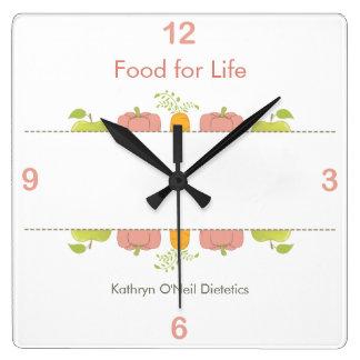 Relógio Quadrado Tempo profissional da dietista ou do nutricionista