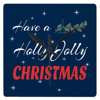 Relógio Quadrado Tenha um Natal alegre do azevinho