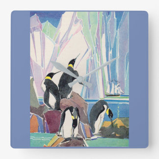Relógio Quadrado terra do pinguim