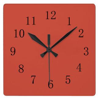 Relógio Quadrado Terra - tom vermelho da terra do cotta
