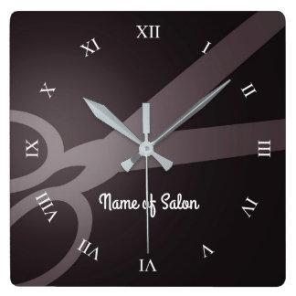 Relógio Quadrado Tesouras | cabeleireiro de Brown escuro & de