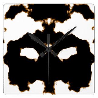 Relógio Quadrado Teste de Rorschach de um cartão da mancha da tinta