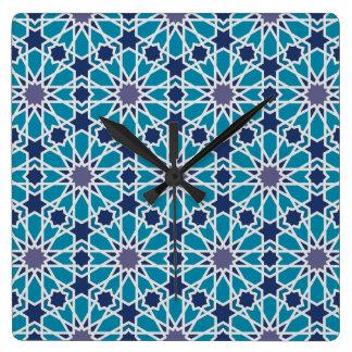 Relógio Quadrado Teste padrão abstrato em azul e em cinzento