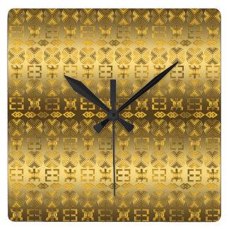 Relógio Quadrado Teste padrão africano étnico com simbols de