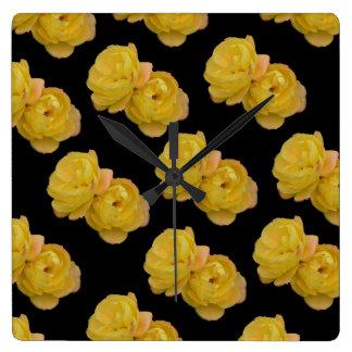Relógio Quadrado Teste padrão amarelo e preto do rosa, grande pulso