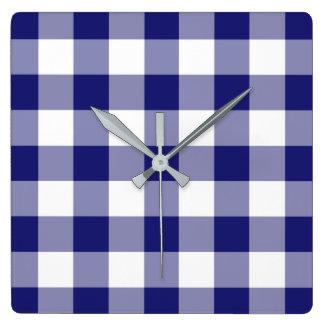 Relógio Quadrado Teste padrão azul e branco verificado da