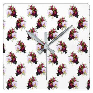 Relógio Quadrado Teste padrão bonito das peônias