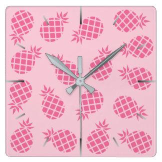 Relógio Quadrado Teste padrão bonito feminino do abacaxi do rosa