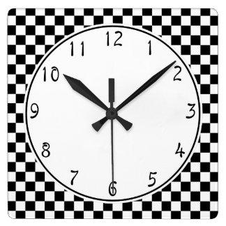 Relógio Quadrado Teste padrão branco do tabuleiro de damas do preto