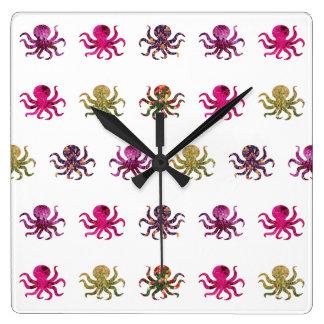 Relógio Quadrado Teste padrão colorido do polvo