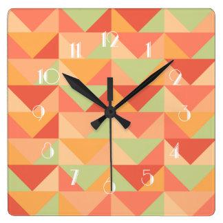 Relógio Quadrado Teste padrão colorido moderno da cerceta