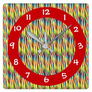 Relógio Quadrado Teste padrão colorido moderno das listras